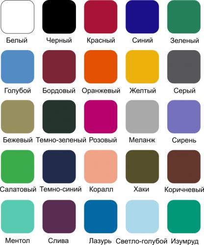 Палитра цветов футболок